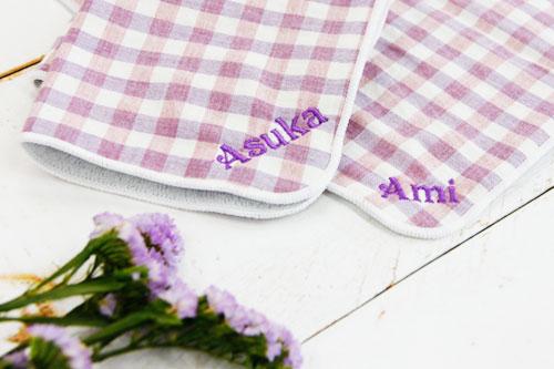 名入れ刺繍ハンカチ オーガニックハンカチ fel